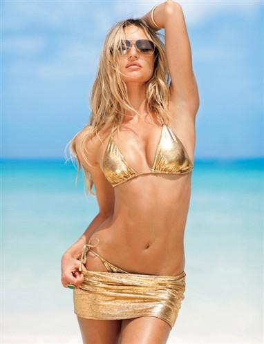 Candice Swanepoel dorado minifalda